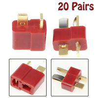 20Pairs/40pcs T Plug Connector Female Male Deans For RC Lipo Battery Helicopter