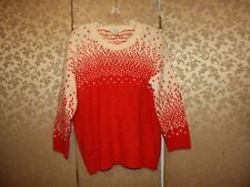 Madewell NWT Red Orange Ivory Multi-Color DRIFTSTITCH Sweater Large L