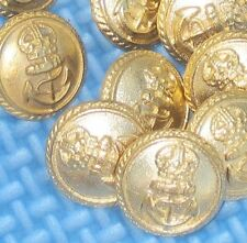 """Relief Crown and ANCHOR Set 12 Military Style vtg New Gold METAL Buttons 5/8"""""""