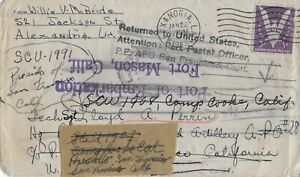 1943 WWII U.S.O. Cover from Alexandria, LA to San Francisco, CA (Redirected)