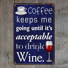 Coffee & Wine Vintage Tin Signs Metal Plate Cafe Decor Art Wall Poster