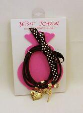 Betsey Johnson Goldtone Black Stretch Charm 4 Hair Tie Bracelet Set Initial E