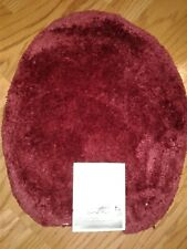 Deep Red Toilet Lid Cover Universal Soft Top Non Slip Washable Plush Nylon Bath