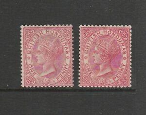 British Honduras 1882/7 Crown CA, 1d Rose & 1d Carmine MM SG 18 & 19