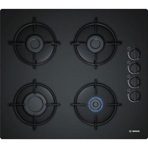 Bosch Gas Hob 23 5/8in Black 4 Lamps Gas Cooktop Autark Built-In New