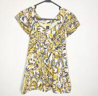 SoCA St John Yellow Floral Short Sleeve Cotton Blouse Size M Women's Top Shirt