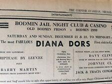 b1n ephemera 1968 advert bodmin night club diana dors barry martin
