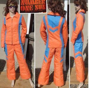 vtg 70's NUMBER 1 SUN ski jacket pant flared leg neon orange snow suit womens SM