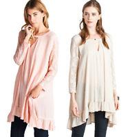 JODIFL Womens Drapy Boho Chic Lace Bohemian Long Sleeve Top Blouse Tunic S M L
