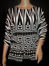 NWT*Womens CHICO'S Black & White Geometric Print Top*Size 1*Wear To Work*$89*