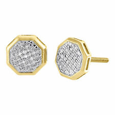 Diamond Octagon Studs 10K Yellow Gold Round Cut Fashion Pave Earrings 0.13 Tcw.