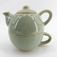 Green Pier 1 Stoneware Tea for One Teapot With Mug Stackable 3-Piece Set Gift