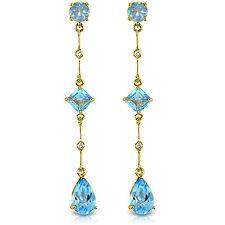 6.06 Carat 14K Solid Gold Chandelier Earrings Diamond Blue Topaz