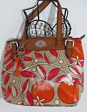 FOSSIL Key-Per Coated CANVAS PURSE Shoulder BAG TAUPE PINK ORANGE Print Leather