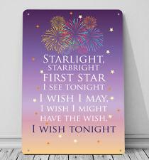 Starlight Starbright Disney Wishes Fireworks Sign A4 Metal Decor Wall Art