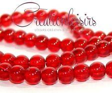 10 perles en verre rouge goutte  8 mm