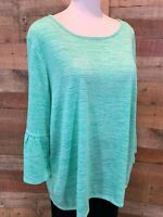 New~$58~RUBY ROAD WOMAN 1X Plus Green & White-Stripe 3/4-Sleeve Poly+ Top Shirt