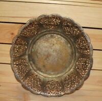 Antique ornate floral silver plated mesh bowl