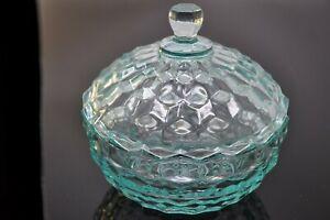 Vintage Fostoria Aqua Blue Depression Glass Sawtooth Candy Bowl Dish With Lid