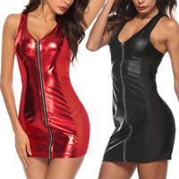 Sexy Women PU Leather Bodycon Short Mini Dress Wet Look Lingerie Club Wear
