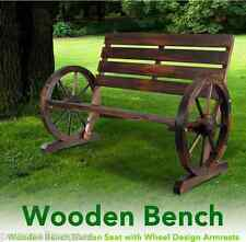 Wooden Bench Garden Seat with Wheel Design Armrests Treated Timber Fir