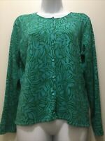 Sigrid Olsen Womens Size Medium Lightweight Blue Green Foliage Button Cardigan