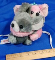 "6"" Vintage Fun World Teddy Bear Plush Toy Pink Grey 2 Bear Mouse Koala Rare"