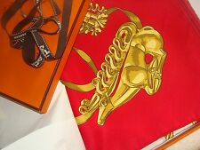 Hermes scarf. Les Cavaliers d'or. with box and ribbon