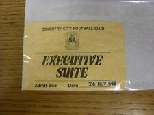 26/11/1988 BIGLIETTO: COVENTRY CITY V Aston Villa EXECUTIVE Suite []. grazie per vie