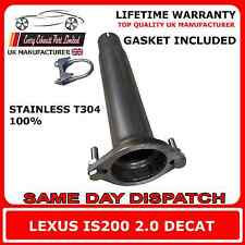 Lexus IS200 2.0 T304 100% Stainless Steel Decat Replacement Pipe Extra BHP