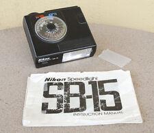 Nikon SB-15 Speedlight Flash Unit w/manual diffuser FE FM F2 F FM2N FE-2 FA FM2