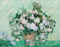Vincent van Gogh 1890, Vase with Roses, Fade Resistant HD Art Print or Canvas