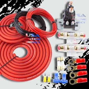 4GA CABLES HEAVY DUTY DUAL AUXILIARY BATTERY ISOLATOR COMPLETE AGU FUSE KIT