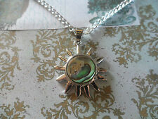 Abalone/Paua Shell Pendants Sun Charm Silver Necklace 21 inch Chain and Gift Bag