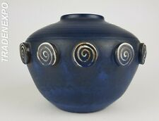 Very RARE Vintage Blue CERAMANO 'CASTELL' Vase West German Pottery Fat Lava Era