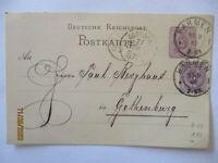 D.Reich Ganzsache 1886 nach Göteborg mit Klaucke Stempel (62632)
