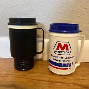 Vintage Aladdin 12 oz Insulated Travel Coffee Mug Cup Marathon Oil Gas Station