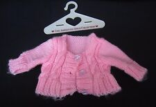 """Doll Clothes Lovely Pink Knit 3 Button Sweater with American Girl Hanger 18""""Doll"""