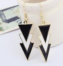 Useful Checkout Gold Metal Enamel Geometry Triangle Dangle Ear Stud Earrings sv