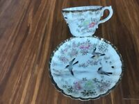 Antique Asian old  egg-shell Japanese tea duo (cup+saucer),hand-painted