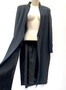 AMANDA WAKELEY Black Long Duster Coat Side Slits Statement Evening Fashion UK 16