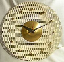 RARE VTG ATOMIC SPACE AGE MID-CENTURY WHITE MESH METAL ELECTRIC WALL CLOCK 1960s