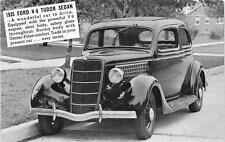 1935 FORD V-8 TUDOR SEDAN CAR CUTTINGSVILLE VERMONT ADVERTISING POSTCARD