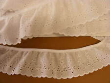 Broderie Anglaise Gathered Lace  White 70mm-10mts(2912)
