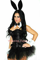 SEXY BUNNY COSTUME PARTY HALLOWEEN CORSET/ SKIRT/THONG/ ACCESS ALL SIZE S M L XL