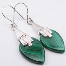"""925 Silver Fancy Malachite Gem Flat Drop Ethnic Ballwire Earrings 1.8"""","""