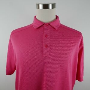 Callaway Mens Polyester Opti Dri SS Pink Striped Golf Activewear Polo Shirt L