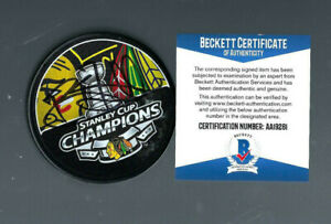 Brent Seabrook Blackhawks Autograph 2013 Stanley Cup Logo Puck Auto BAS Beckett