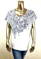 CHICO'S $70 NEW WHITE-BLUE DOLMAN SHORT-SLV TOP SIZE 2 ( L )