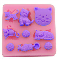3D Cat Chocolate Candy Jelly Fondant Cake Tool Silicone Mold Baking Pan Bakew RG